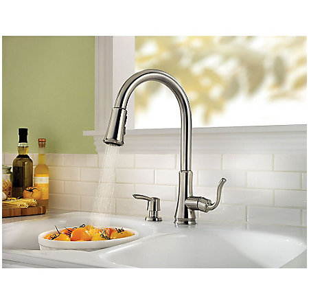 stainless steel cagney 1-handle, pull-down kitchen faucet - f-529-7cgs - 6