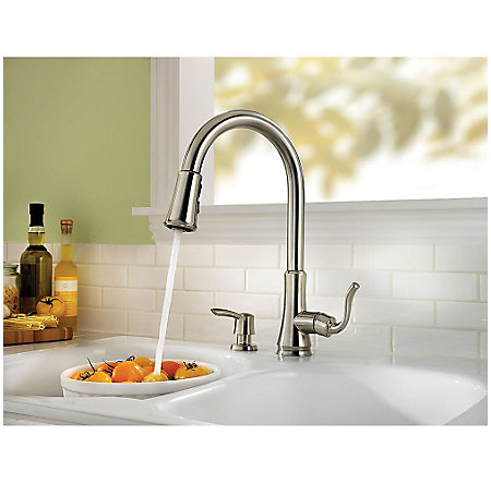stainless steel cagney 1-handle, pull-down kitchen faucet - f-529-7cgs - 7