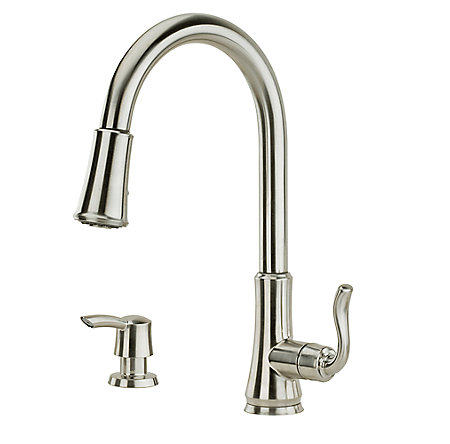 stainless steel cagney 1-handle, pull-down kitchen faucet - f-529-7cgs - 1