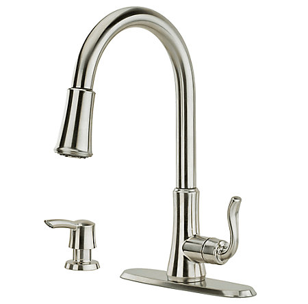 stainless steel cagney 1-handle, pull-down kitchen faucet - f-529-7cgs - 2