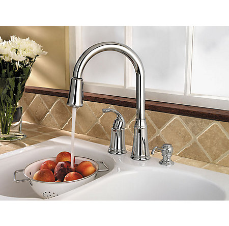 Polished Chrome Classic 1-Handle, Pull-Down Kitchen Faucet - F-WKP-650C - 2