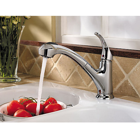 Polished Chrome Shelton 1-Handle, Pull-Out Kitchen Faucet - F-WKP-701C - 2