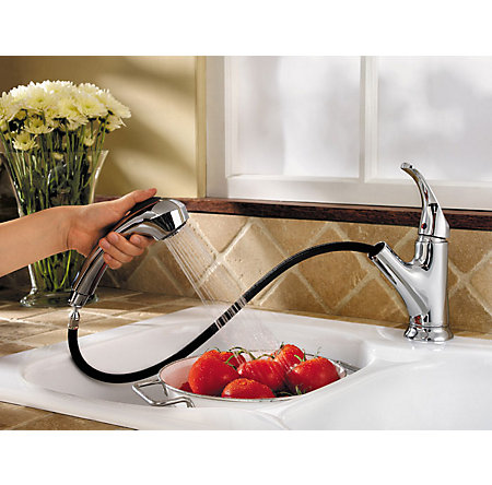 Polished Chrome Shelton 1-Handle, Pull-Out Kitchen Faucet - F-WKP-701C - 4