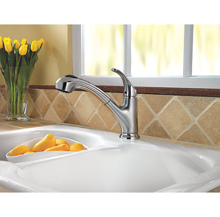 Stainless Steel Shelton 1-Handle, Pull-Out Kitchen Faucet - F-WKP-700S - 2