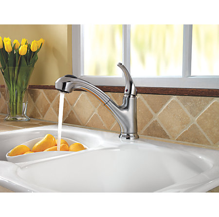Stainless Steel Shelton 1-Handle, Pull-Out Kitchen Faucet - F-WKP-700S - 3