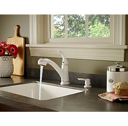 white shelton 1-handle, pull-out kitchen faucet - f-wkp-701w - 4