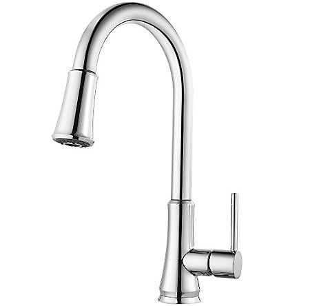 Polished Chrome Pfirst Series Pull-Down Kitchen Faucet - G529-PF1C - 1