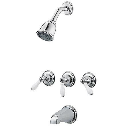 Polished Chrome / White Porcelain Pfister 3-Handle Tub & Shower Faucet with Porcelain Lever Handles - G01-81PC - 2