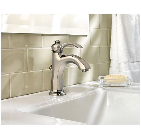 brushed nickel portola single control, centerset bath faucet - gt42-rp0k - 2