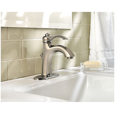 brushed nickel portola single control, centerset bath faucet - gt42-rp0k - 3