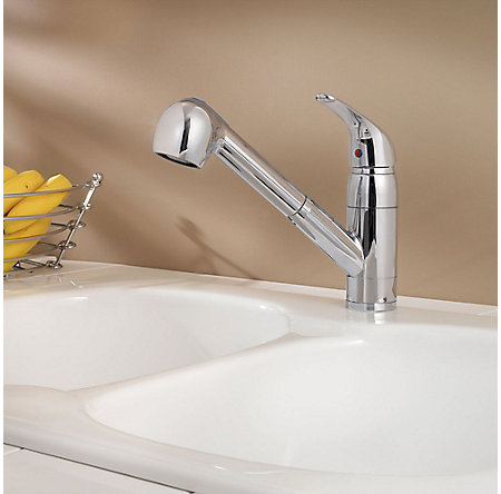 Polished Chrome Pfirst Series 1-Handle, Pull-out Kitchen Faucet - G133-10CC - 3