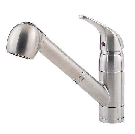 stainless steel pfirst series 1-handle, pull-out kitchen faucet - g133-10ss - 1
