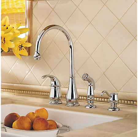 Polished Chrome Treviso 1-Handle Kitchen Faucet - LG26-4DCC - 2