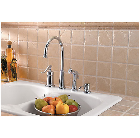 Polished Chrome Ashfield 1-Handle Kitchen Faucet - GT26-4YPC - 2