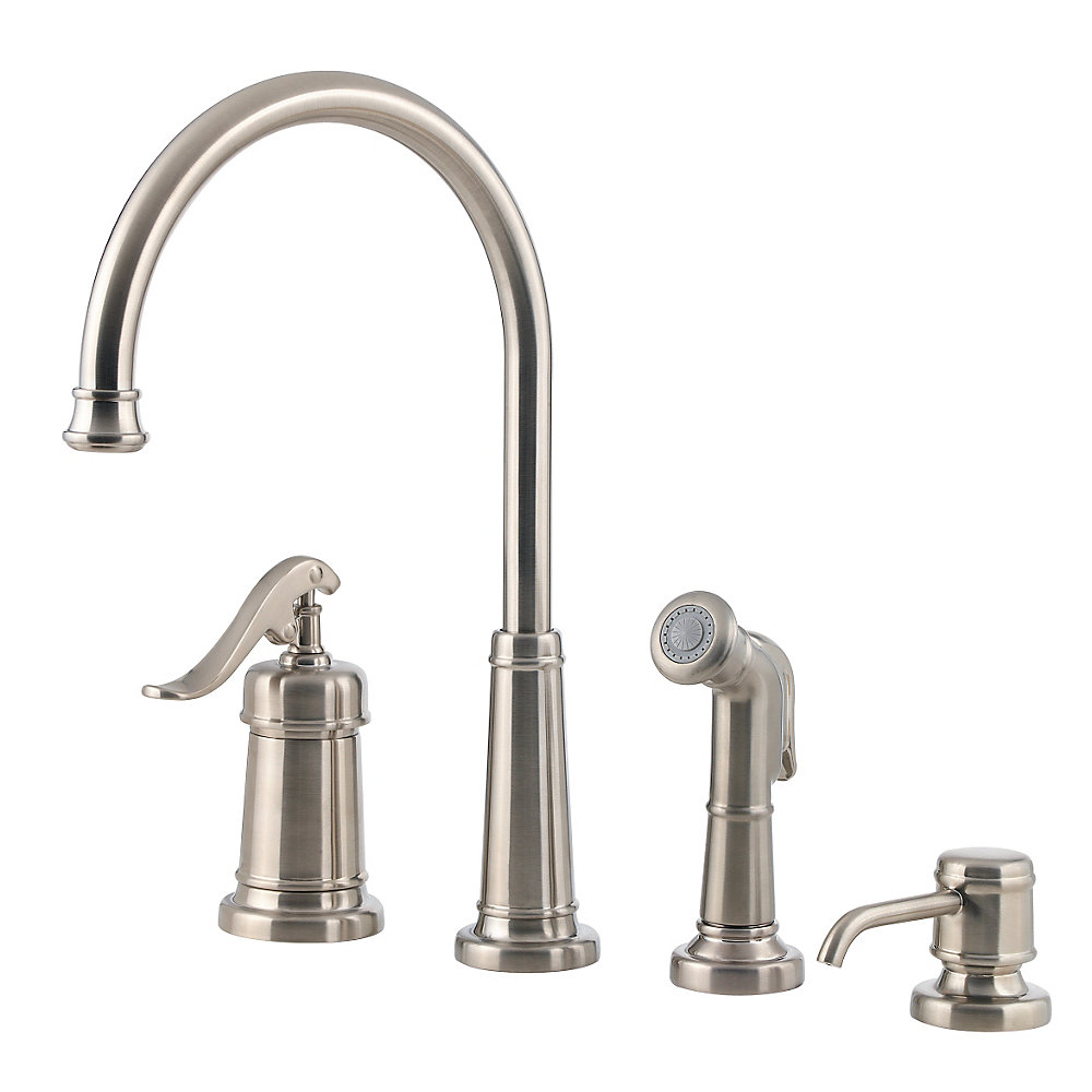 superior Pfister Ashfield Kitchen Faucet #2: Brushed Nickel Ashfield 1-Handle Kitchen Faucet - LG26-4YPK - 1