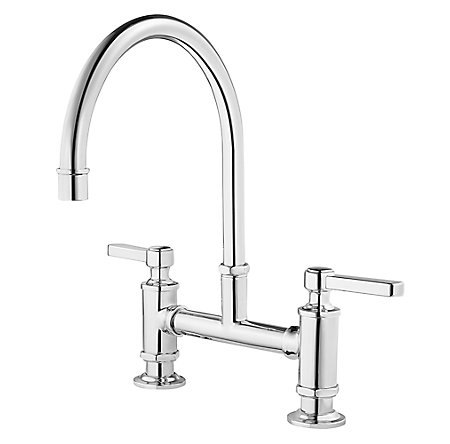 polished chrome port bridge kitchen faucet gt31