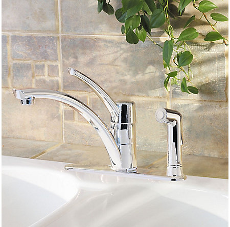 Polished Chrome Parisa 1-Handle Kitchen Faucet - GT34-3NCC - 2