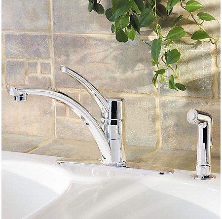 polished chrome parisa 1-handle kitchen faucet - gt34-4ncc - 2