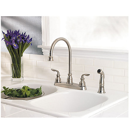 stainless steel avalon 2-handle kitchen faucet - gt36-4cbs - 2