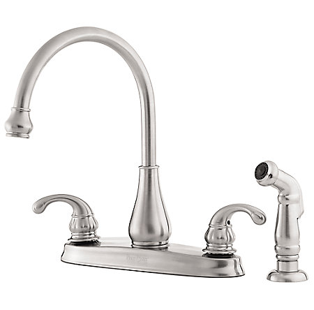Stainless Steel Treviso 2 Handle Kitchen Faucet   GT36 4DSS   1. Stainless Steel Treviso 2 Handle Kitchen Faucet   GT36 4DSS