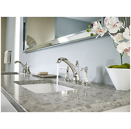 "Polished Nickel Arterra 8"" Widespread Lavatory Faucet - LG49-DE0D - 3"