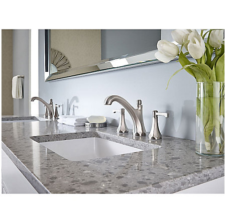 "Brushed Nickel Arterra 8"" Widespread Lavatory Faucet - LG49-DE0K - 2"
