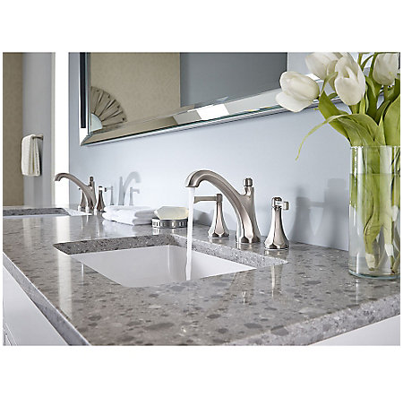 "Brushed Nickel Arterra 8"" Widespread Lavatory Faucet - LG49-DE0K - 3"