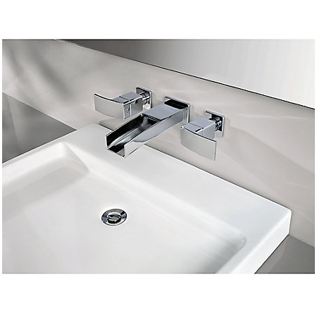 Brushed Nickel Kenzo Wall Mount Widespread Trough Bath Faucet - GT49-DF1K - 3