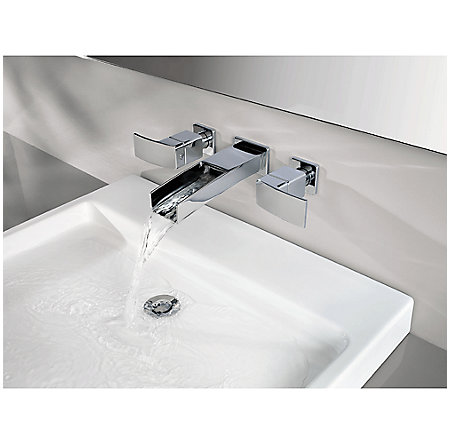 Brushed Nickel Kenzo Wall Mount Widespread Trough Bath Faucet - GT49-DF1K - 4