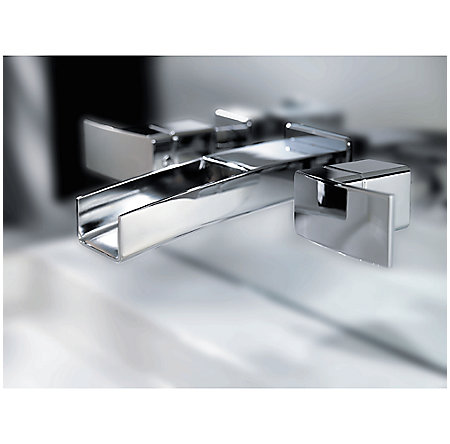 Brushed Nickel Kenzo Wall Mount Widespread Trough Bath Faucet - GT49-DF1K - 7