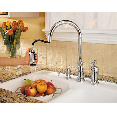 Polished Chrome Hanover 1-Handle, Pull-Down Kitchen Faucet - GT526-TMC - 2