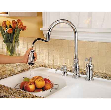 Polished Chrome Hanover 1-Handle, Pull-Down Kitchen Faucet - GT526-TMC - 6