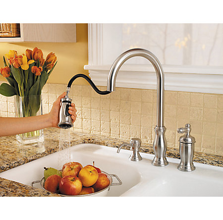 Stainless Steel Hanover 1-Handle, Pull-Down Kitchen Faucet - GT526-TMS - 5