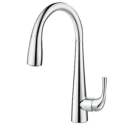 polished chrome alea pull-down kitchen faucet - gt529-alc - 1