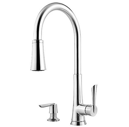 Polished Chrome Mystique 1-Handle, Pull-Down Kitchen Faucet - GT529-MDC - 1