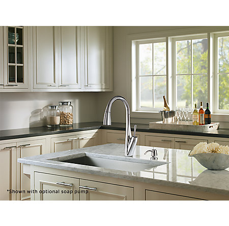 polished chrome zuri pull-down kitchen faucet - gt529-mpc - 4