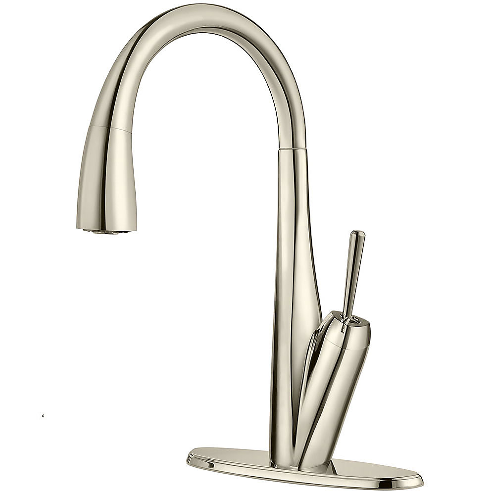 polished nickel zuri pull-down kitchen faucet - gt529-mpd
