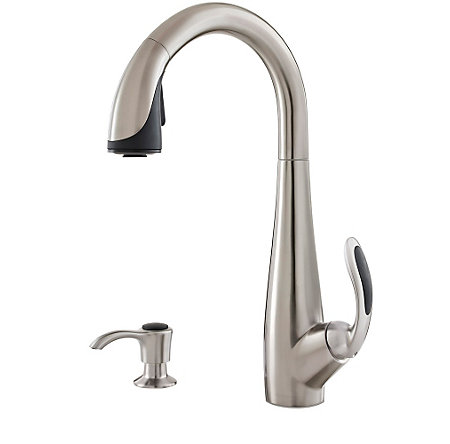 Stainless Steel / Black Nia Pull-Down Kitchen Faucet - GT529-NIS - 1