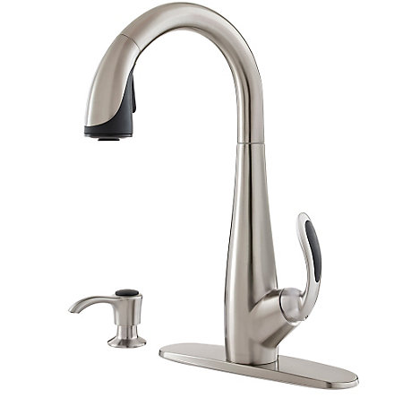 Stainless Steel / Black Nia Pull-Down Kitchen Faucet - GT529-NIS - 2