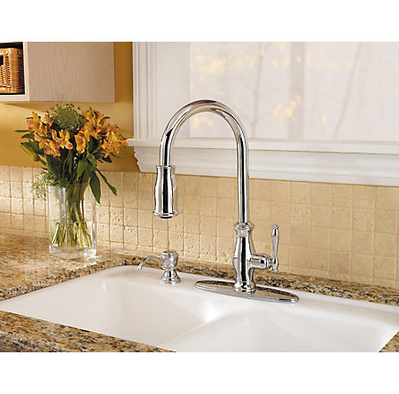 polished chrome hanover 1-handle, pull-down kitchen faucet - gt529-tmc - 4