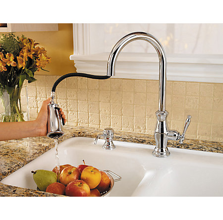Polished Chrome Hanover 1-Handle, Pull-Down Kitchen Faucet - GT529-TMC - 5