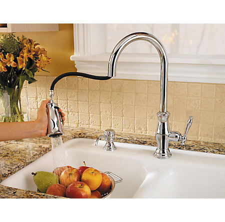 Polished Chrome Hanover 1-Handle, Pull-Down Kitchen Faucet - GT529-TMC - 6