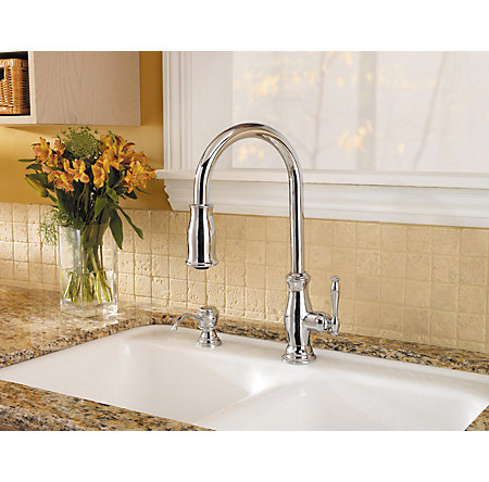 Polished Chrome Hanover 1-Handle, Pull-Down Kitchen Faucet - GT529-TMC - 7