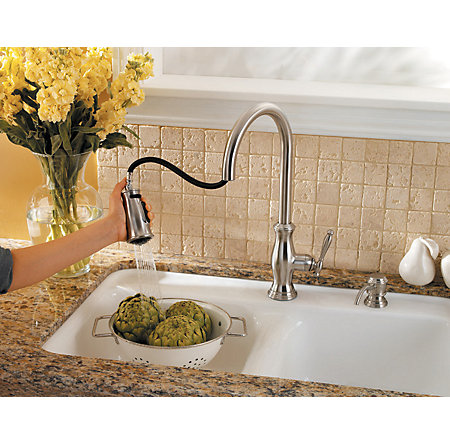 stainless steel hanover 1-handle, pull-down kitchen faucet - gt529-tms - 8