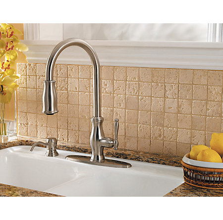 stainless steel hanover 1-handle, pull-down kitchen faucet - gt529-tms - 9