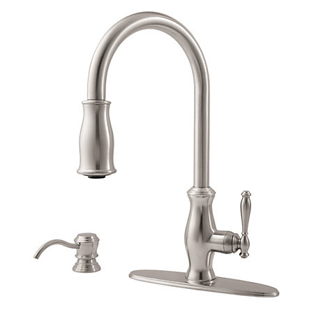 stainless steel hanover 1-handle, pull-down kitchen faucet - gt529-tms - 2