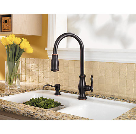tuscan bronze hanover 1-handle, pull-down kitchen faucet - gt529-tmy - 4