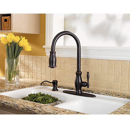 tuscan bronze hanover 1-handle, pull-down kitchen faucet - gt529-tmy - 6