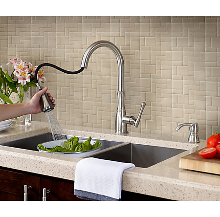 Stainless Steel Wheaton Pull-Down Kitchen Faucet - GT529-WH1S - 6