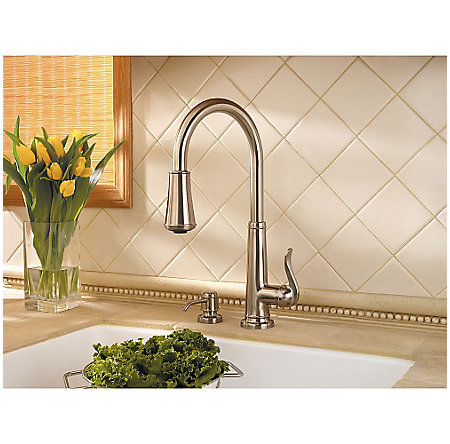 Brushed Nickel Ashfield 1-Handle, Pull-Down Kitchen Faucet - GT529-YPK - 4